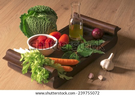 Vision ingredients for Italian sauce based on tomatoes, Italian cuisine, simple and genuine, country kitchen - stock photo