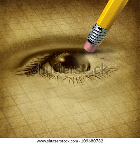 Vision loss ad losing eyesight medical health care concept with a human sight organ being erased by a pencil as a symbol of blindness and ocular disease. - stock photo