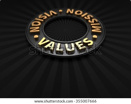 Vision Mission Values | Values in FOCUS - stock photo
