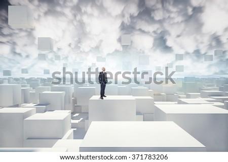 Vision of futuristic city - stock photo