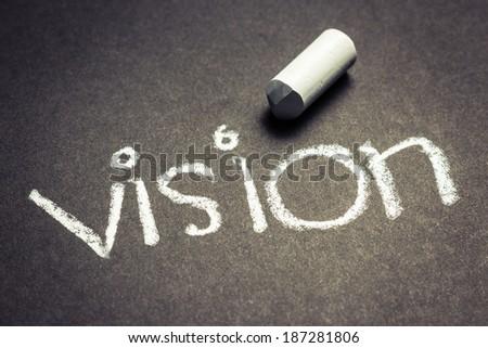 Vision word handwritten with chalk - stock photo
