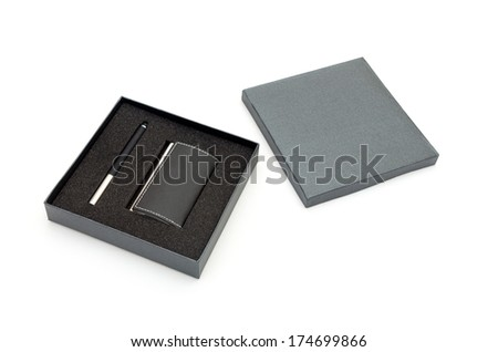 Visit card holder and pen in gift box - stock photo