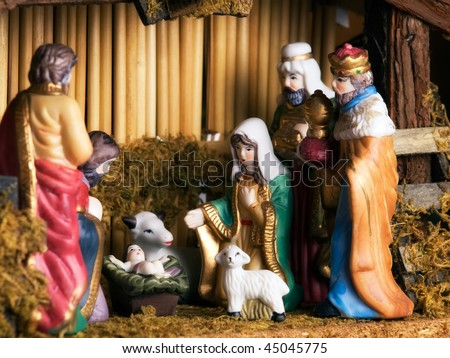 Visit of  Epiphany to newborn Jesus... - stock photo