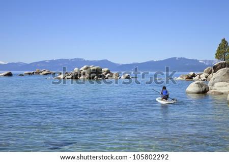 Visiting lake Tahoe in California and Nevada states. - stock photo