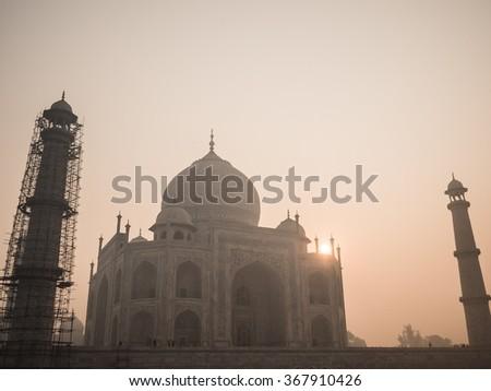 Visiting the Taj Mahal in Agra - stock photo