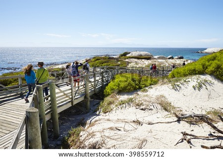 Visitors going to the African penguins colony on Boulders Beach, Simon's Town near Cape Town, South Africa.