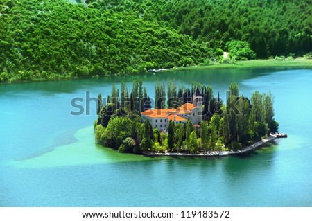 Visovac, Christian monastery, Croatia - stock photo
