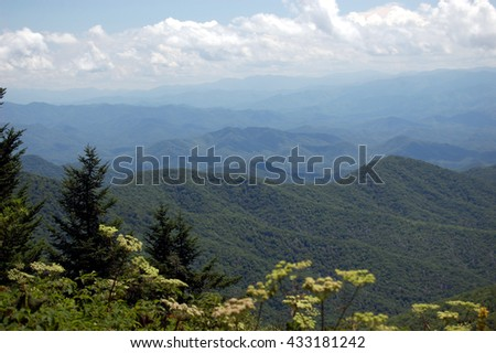 vista of Smoky Mountains straddles, in Great Smoky Mountains National Park, Tennessee  - stock photo