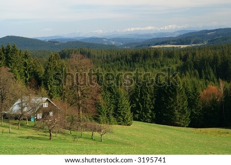 vista  on mountains - stock photo