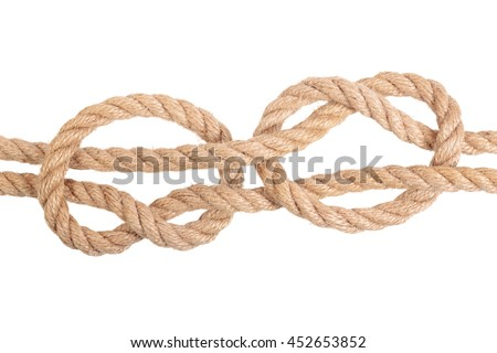 "Visual material or guide on execution of ""Fisherman's Knot"". Isolated on white background. Illustration for a survival guide."