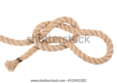 "Visual material or guide on execution of ""Running Knot"". Isolated on white background. Illustration for a survival guide."