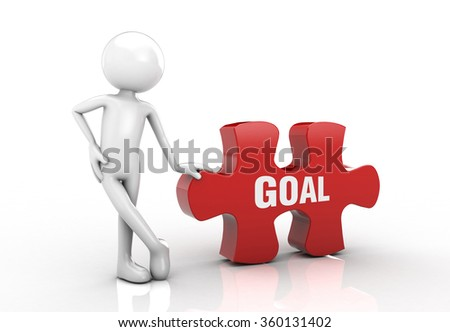 visual puzzle and he emphasized the goal post. - stock photo
