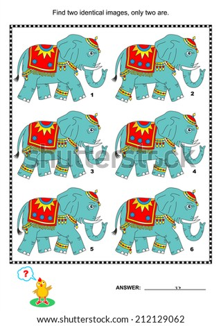 Visual puzzle or picture riddle: Find two identical images of elephants. Answer included.  - stock photo