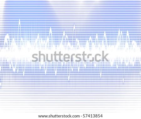 Visual representation of a soundwave on a blue background - stock photo