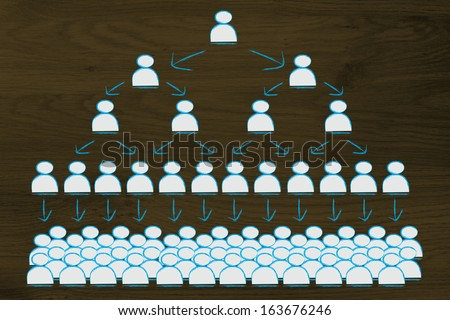 visual representation of hierarchy and rigid structures in company management - stock photo