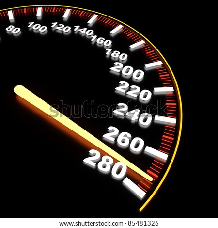 Visualization of speedometer on high-rate - stock photo
