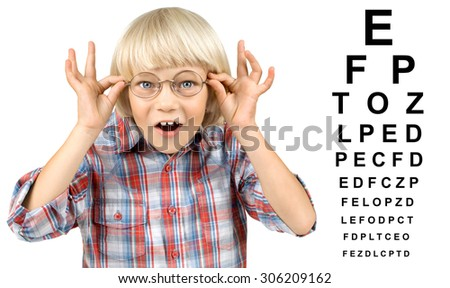 visually impaired little children boy with eye chart, on white background, isolated - stock photo