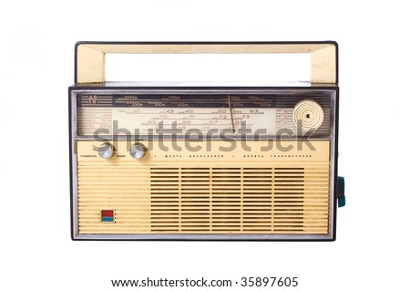 vitage russian radio on the white background