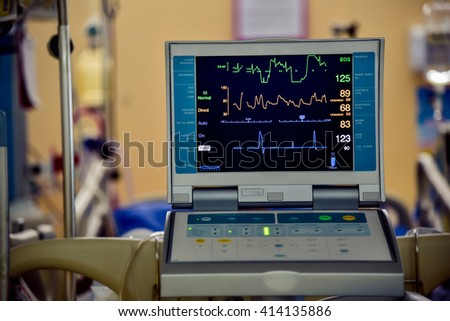 Vital signs monitor at ICU in hospital - stock photo