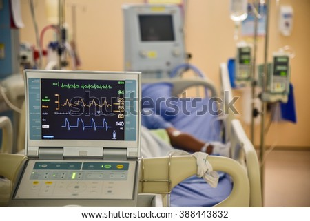 Vital signs monitor in hospital - stock photo