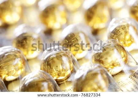 Vitamin A, E, D in blister pack - stock photo