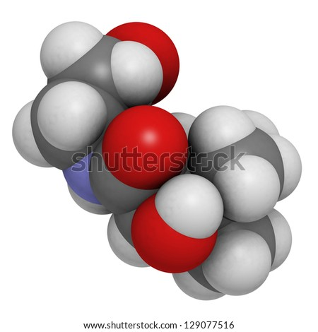 Vitamin B5 (pantothenic acid), molecular model. Atoms are represented as spheres with conventional color coding: hydrogen (white), carbon (grey), oxygen (red), nitrogen (blue) - stock photo