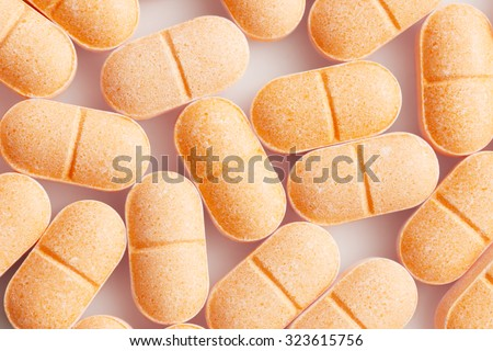 Vitamin C Tablets for Background Uses. - stock photo