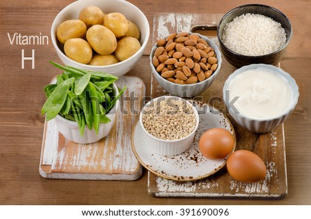 Vitamin H Rich Foods on a rustic wooden board. Healthy diet eating.