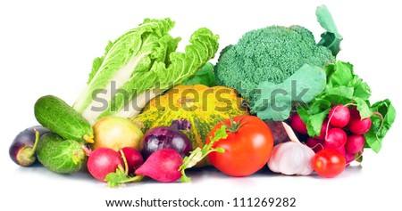 vitamin set of vegetables from the large turnip beets, zucchini orange green sprigs radish bright and fresh green salad leaves tomato, garlic, eggplant, cucumber of fresh isolated on white background - stock photo