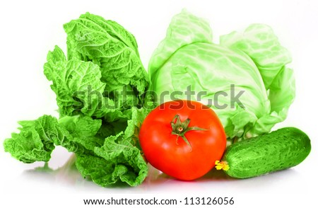 vitamin set of vegetables greens cabbage; lettuce green salad leaves green cucumber with a yellow flower and red tomato of fresh isolated on white background - stock photo