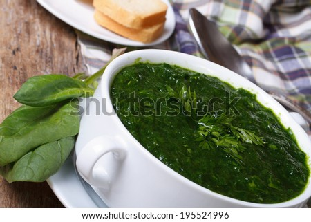 Vitamin spinach soup with croutons close up on the table. horizontal  - stock photo