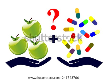 Vitamin Supplements. Rising the question to take or not to take vitamin pills for healthy diet - stock photo