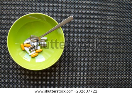 Vitamins and dietary supplements  - stock photo