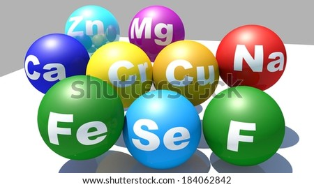 Vitamins trace - supplements - stock photo