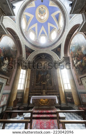 VITERBO, ITALY - JULY 12, 2014: interior of the medieval cathedral, built in the 12th century and completed in the 16th century.