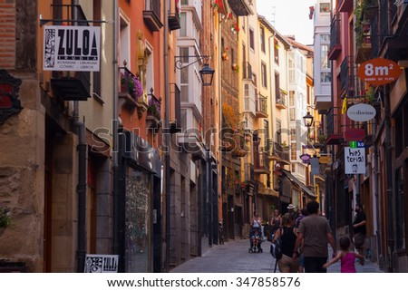 VITORIA, SPAIN - JULY 4, 2015: Day view  of street in Vitoria-Gasteiz.  Basque Country, Spain