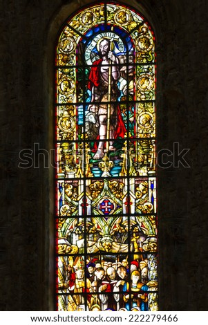 Vitrage window. Interior of church in Monastery of Jeronimos, Lisbon, Portugal