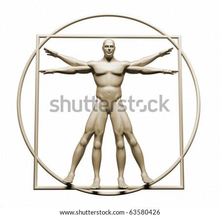 Vitruvian man - this is a 3d render illustration - stock photo