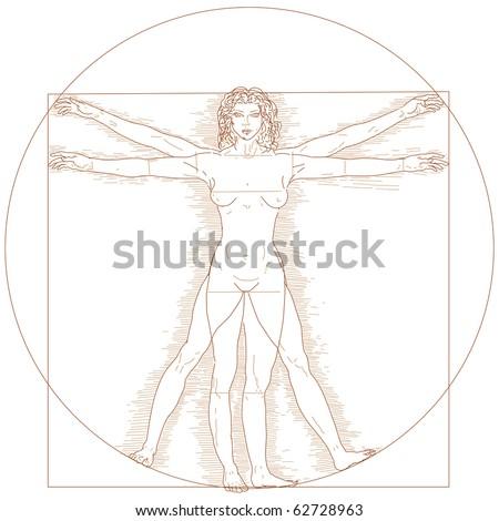 Vitruvian woman illustration - stock photo