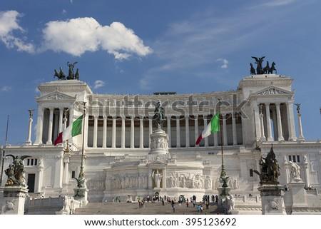 Vittoriano (Vittorio Emanuele II Monument) in Rome, Italy. Front view. - stock photo