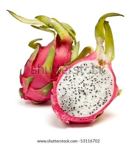 Vivid and Vibrant Dragon Fruit isolated against white background. - stock photo