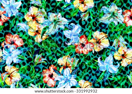 Vivid animals pattern on a floral background. Tropical flowers and plants for prints on a leopard ornament. Watercolor painted - stock photo