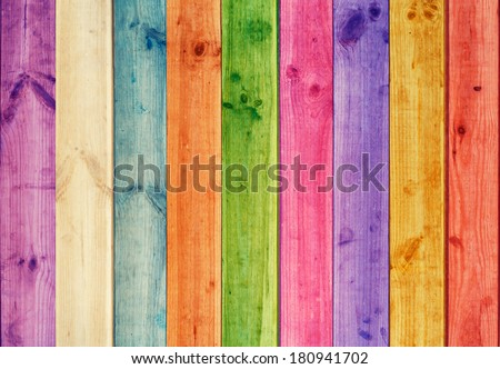 vivid background of colorful wooden planks - stock photo