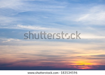 Vivid beautiful sunset sky with slightly cloudy