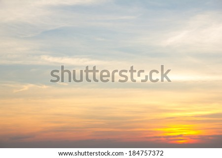 Vivid beautiful sunset sky with slightly cloudy - stock photo
