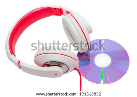 Vivid classic wired headphones and compact disc isolated on white - stock photo