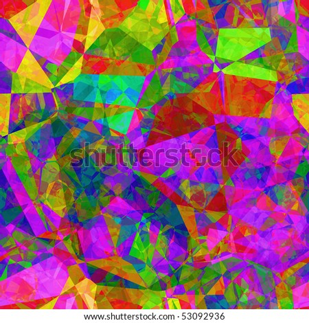 Vivid color shards form stained glass abstract, seamless background tile pattern.