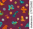 Vivid colors birds seamless pattern - raster version - stock photo