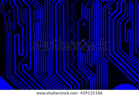 vivid dark blue pcb board integrated circuit motherboard computer parts abstract background - stock photo