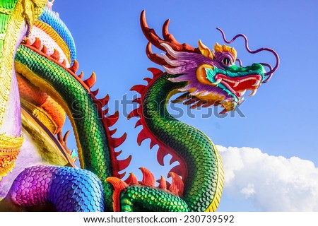 vivid dragon sculpture at Buddhist temple,Thailand - stock photo